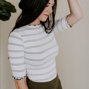 Tops - Striped ribbed top - Cream/black